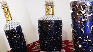 Garrafa decorada com textura e vitrificação