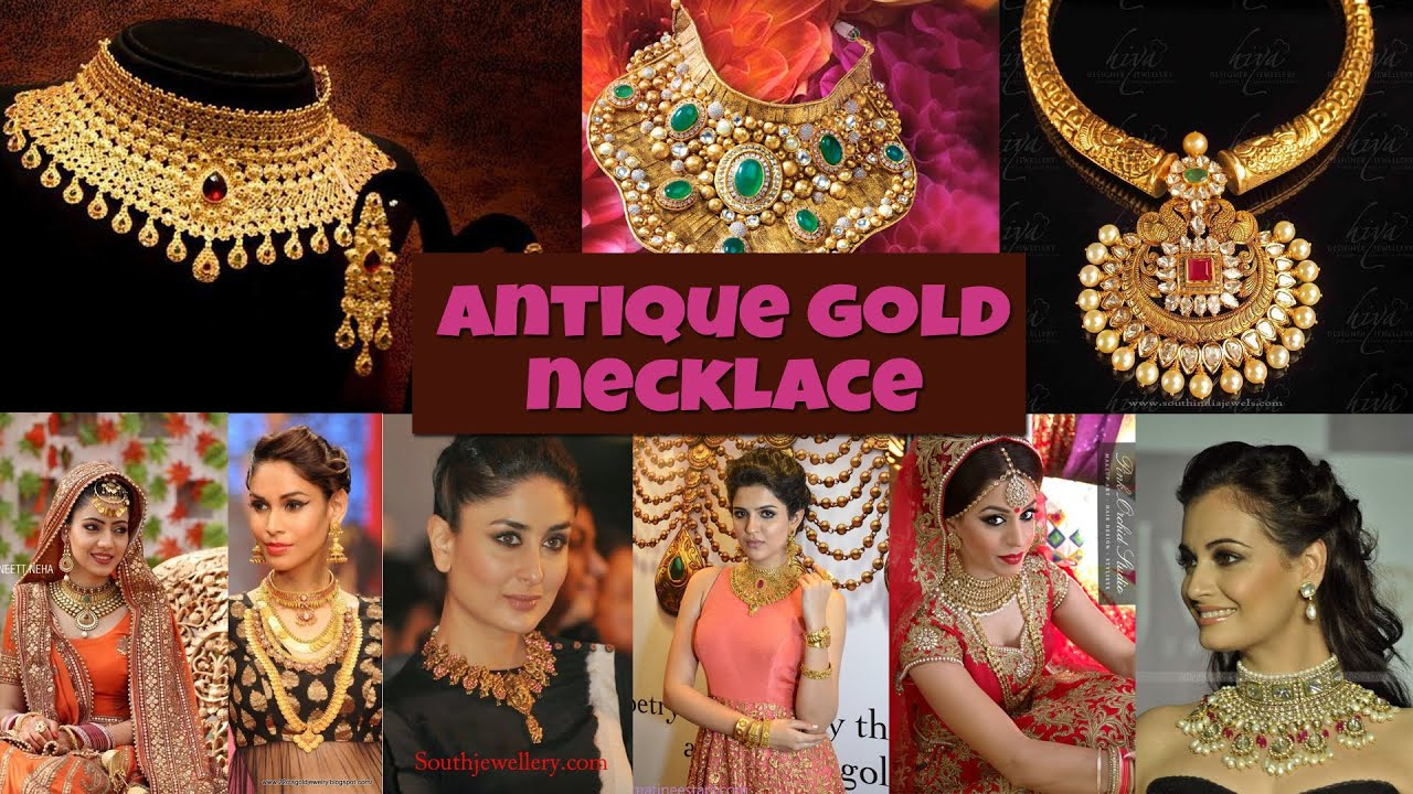ANTIQUE GOLD NECKLACE DESIGN - YouTube