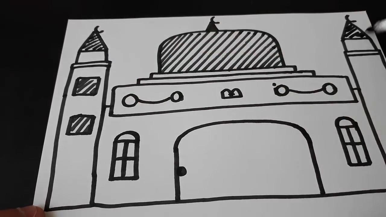 Cok Kolay Cami Yazarak Cami Resmi Cizimi How To Draw A