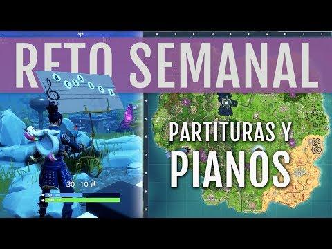 UBICACIÓN PARTITURAS Y PIANOS Y CÓMO COMPLETAR EL RETO | FORTNITE BATTLE ROYALE
