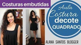 Vestido com costuras embutidas decote quadrado Alana Santos Blogger