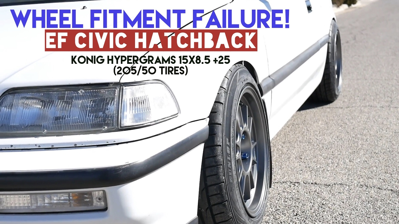 15x8 civic konig ef 205 50 stance wheel hypergrams tires fitment failure