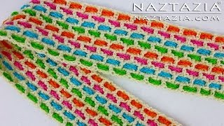 Learn How to Crochet - Easy Weave Woven Weaving Mesh Infinity Scarf or Cowl (Ribbon Yarn Chain)