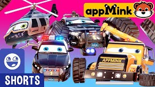 #appMink kids video: Police Force Vehicles & Toy Crane tricked by Evil Bus with Giant Magnet