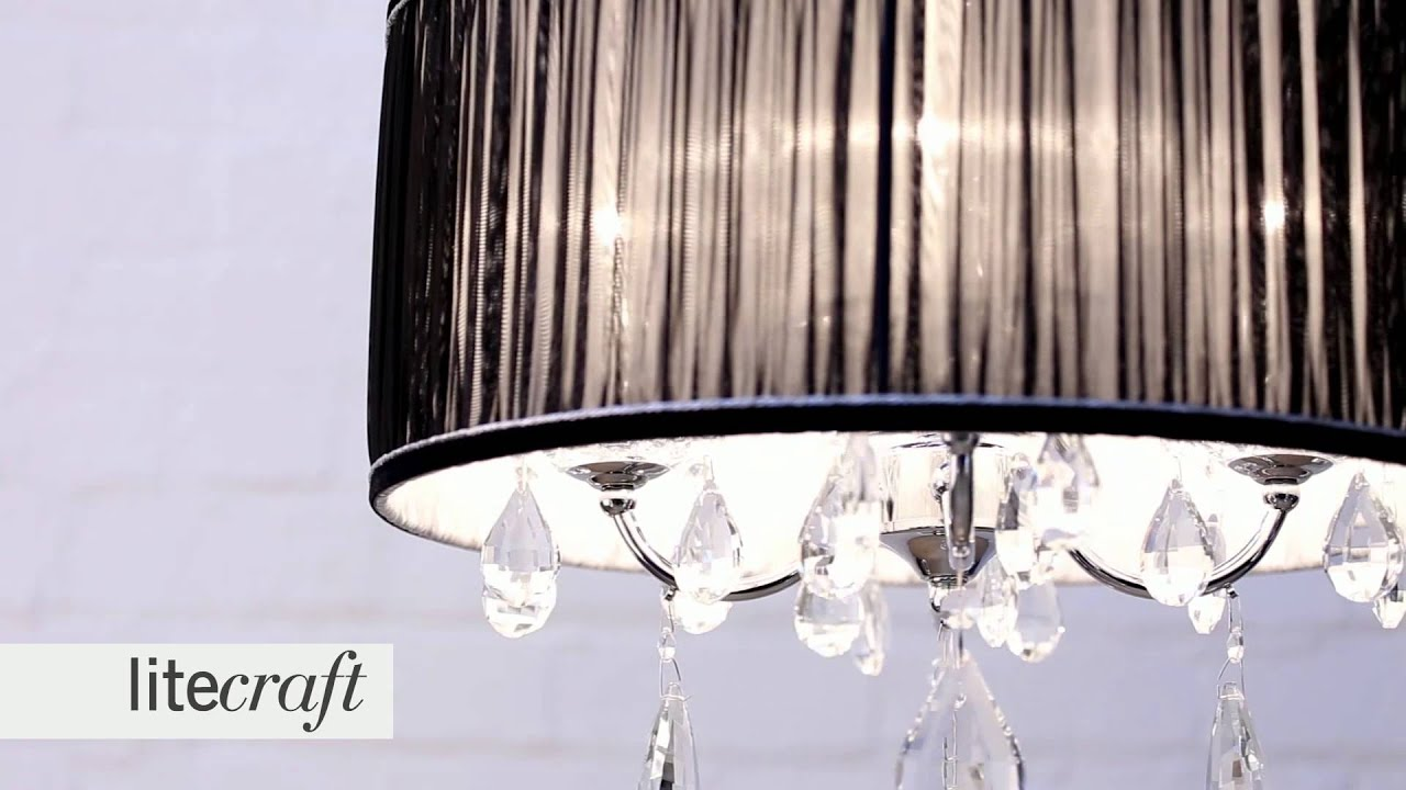 L\'amour 4 Light Pleated Chandelier Shade - Black | Litecraft ...