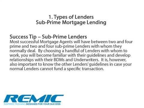 Choosing a Lender Presentation - Ontario mortgage agent course