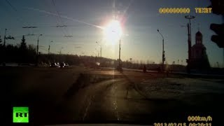 Russian meteor explosion: Spectacular dash cam video of meteorite fireball falling in Urals(Video licensed from: Aleksandr Ivanov - https://www.youtube.com/channel/UC7s-_jX0KU-0qsiIo1ZQFLg?feature=watch Russia's Urals region has been rocked ..., 2013-02-15T10:19:17.000Z)