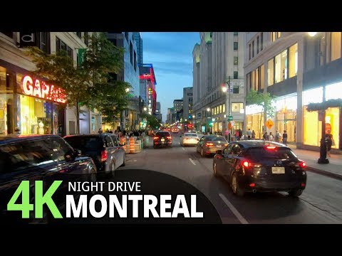 Montreal 4K60fps- Night Drive - Quebec, Canada