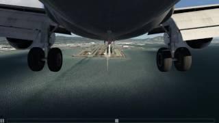 Hard Landing KSFO Boeing 737-500 Gear Cam [Aerofly 2]