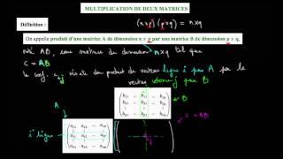 Produit de 2 matrices : b) explication avec le détail des coefficients