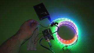 Светодиодная RGB лента ws2812b Neopixel подключение к Arduino(Лента на основе RGB светодиодов ws2812b с индивидуальной адресацией. Так же известные как Neopixel от компании Adafruit...., 2016-01-25T19:27:38.000Z)