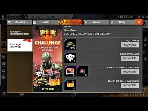 Rampage Challenge New Event Free Fire    Complete & Win Free Annihilator Crates, Callsign & Avatar