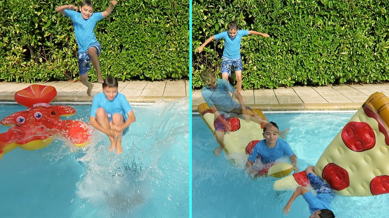 Challenge bombes et sauts dans la piscine youtube for Swan et neo piscine