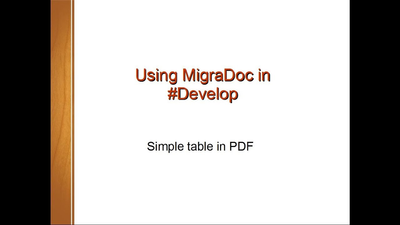 SharpDevelop - Simple table in MigraDoc