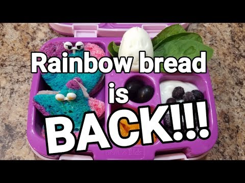 Fifth week of school lunches...Is it Rainbow bread or Unicorn bread?!