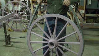 Rubber tires on carriage, wagon wheels