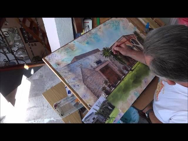 Jorge Villanueva pinta una acuarela de la  hacienda de Viborillas