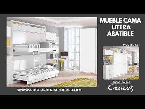 Mueble cama abatible litera horizontal youtube for Mueble cama abatible