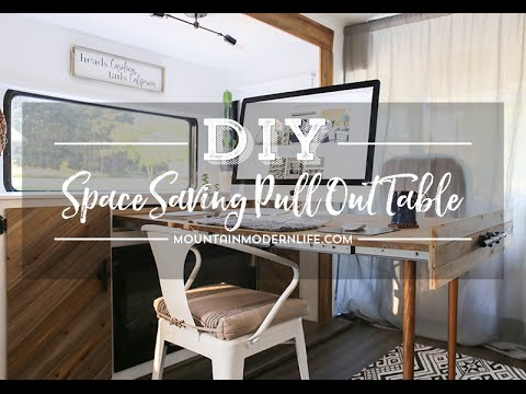 Diy Telescoping Table How We Built A Hidden Table That Expands For Our Rv Youtube