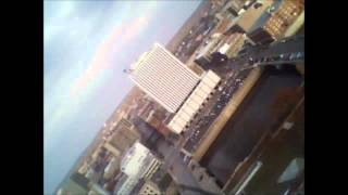 RC Airplane Freedom Flight Over Downtown Cedar Rapids Iowa