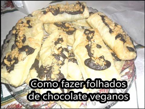 Folhados de chocolate