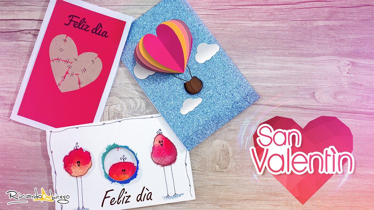 3 tarjetas de amor y amistad san valent n youtube - Manualidades para hacer tarjetas ...