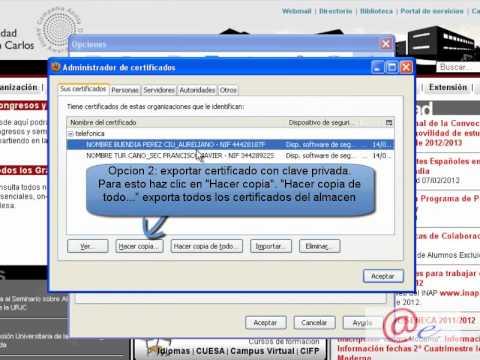Exportacion de certificado con mozilla