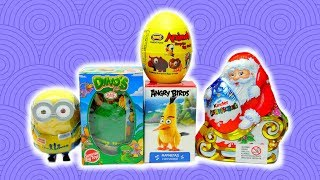Kids Toy Surprise Egg Collection Minion Angry Birds and Surprise Santa Claus