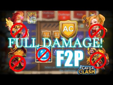 Castle Clash - HBM AC No Scatter And PD_ Using Full Damage Team!_F2P Account