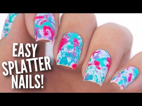 Easy Paint Splatter Nail Art Tutorial - YouTube