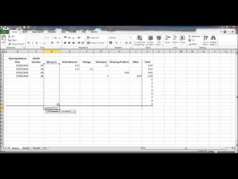 How to Create a Petty Cash Spread sheet using Excel Part 3
