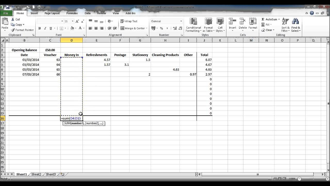 how to create a petty cash spread sheet using excel part 3 youtube