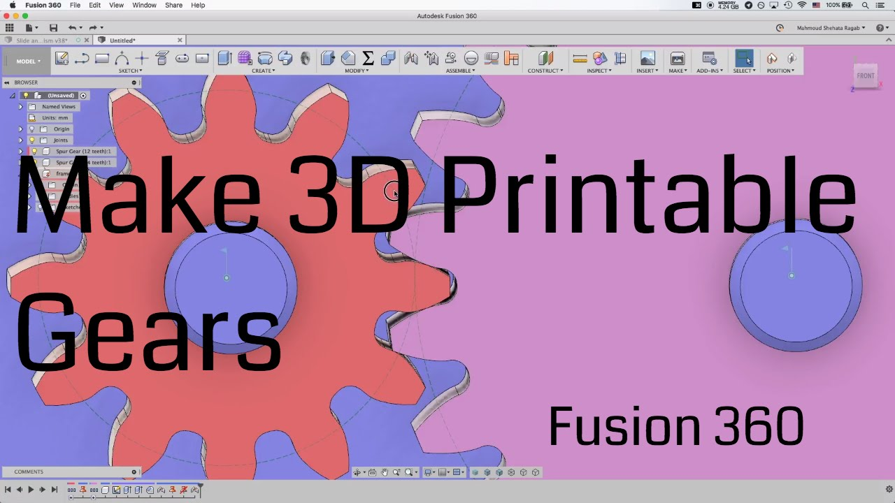 photograph relating to Gears Printable named [Fusion360] 3D Printable Gears Manual âš™ -- Kinetic as a result of Style and design