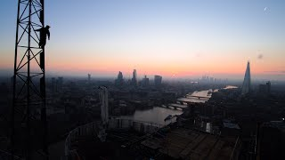 yah bois climbing a crane in london :D