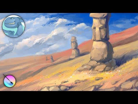 Landscape with stone idols. Speed painting with Krita. Time lapse video.