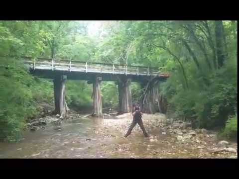 Creek walking in Missouri - railroad stuff, river glass, old bottles, homeless camp, lunch (4 of 4)