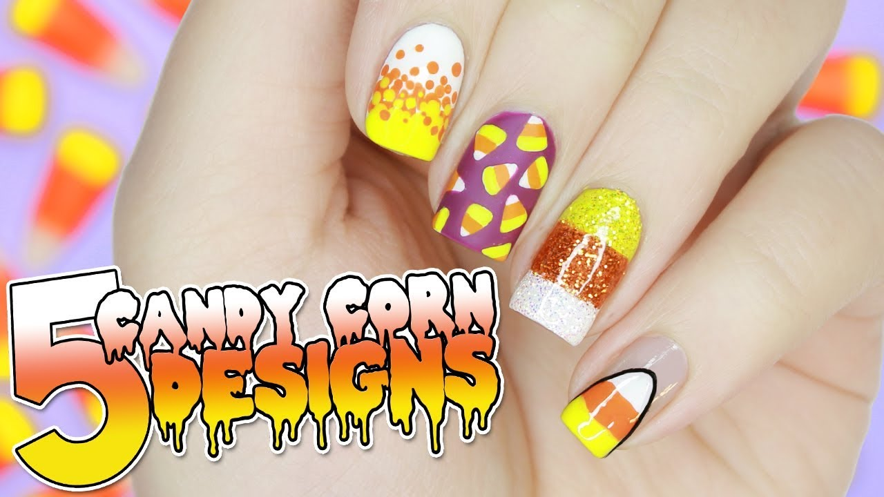 5 EASY Candy Corn Nail Designs for HALLOWEEN | Halloween ...