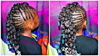 Braided Up | Mohawk With bubble Ponies | Children's Natural Hair Care