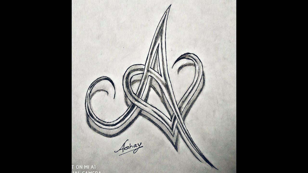 letter a and heart combined easy initial a and combined together celtic 22653 | maxresdefault