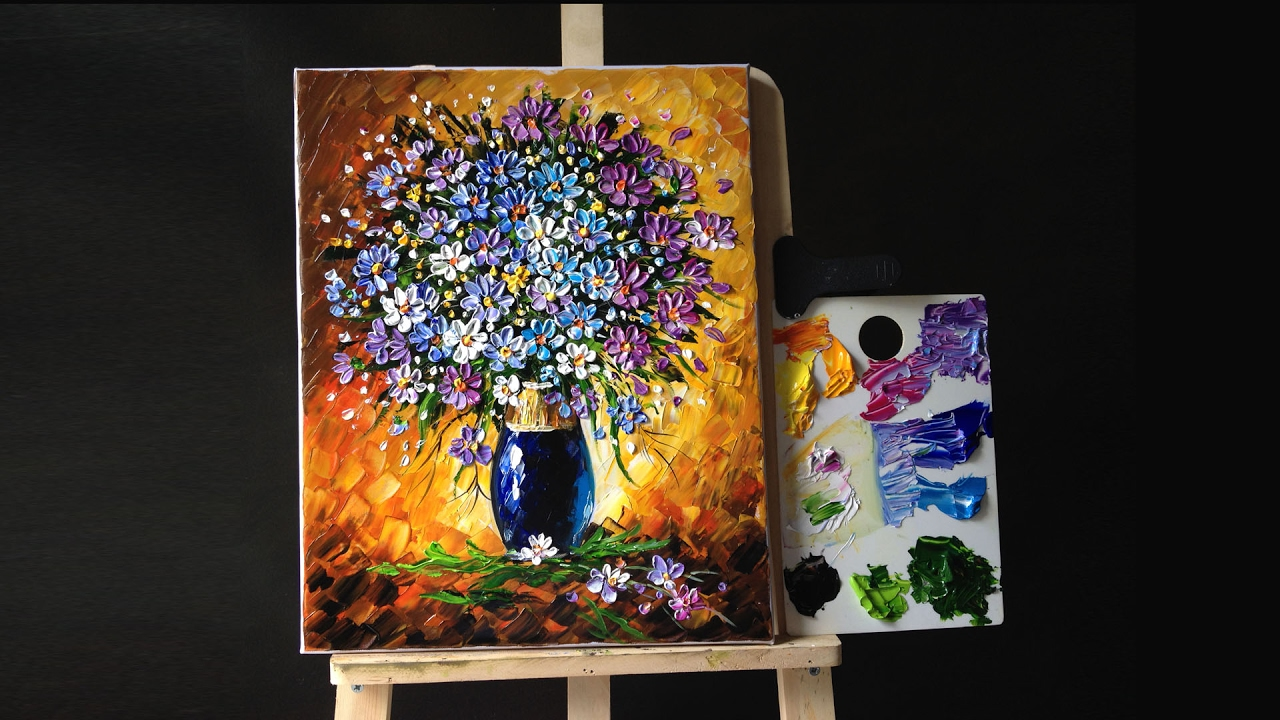 Flowers in a vase palette knife acrylic youtube for How to paint with a palette knife with acrylics
