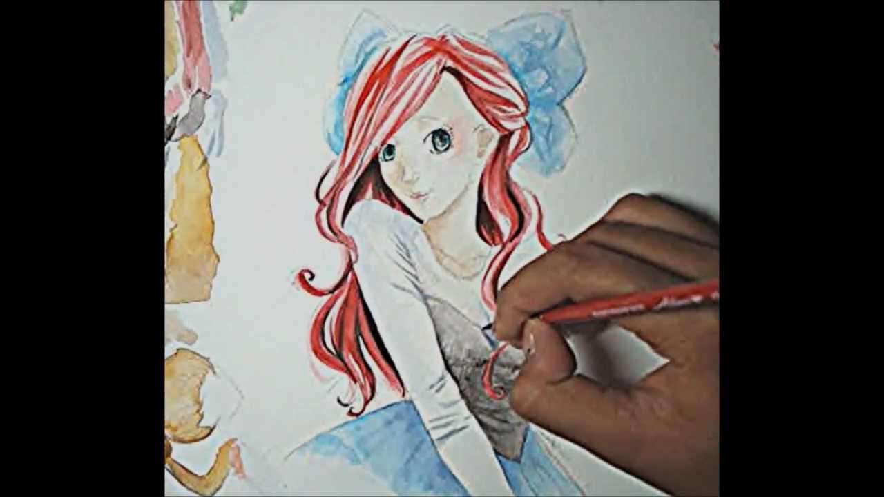 Ariel (The Little Mermaid) Anime Watercolor Speedpaint - YouTube
