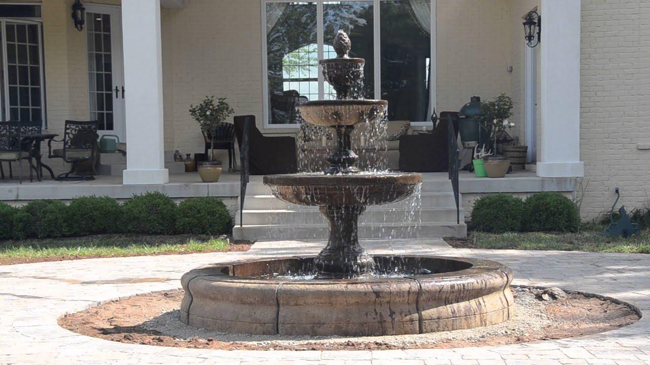 Fiore Stone 3 Tier Mediterranean Fountain In Fiore Pond LG134 FCRG (2)    YouTube