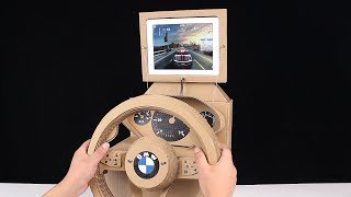 how to make gaming steering wheel from cardboard at home