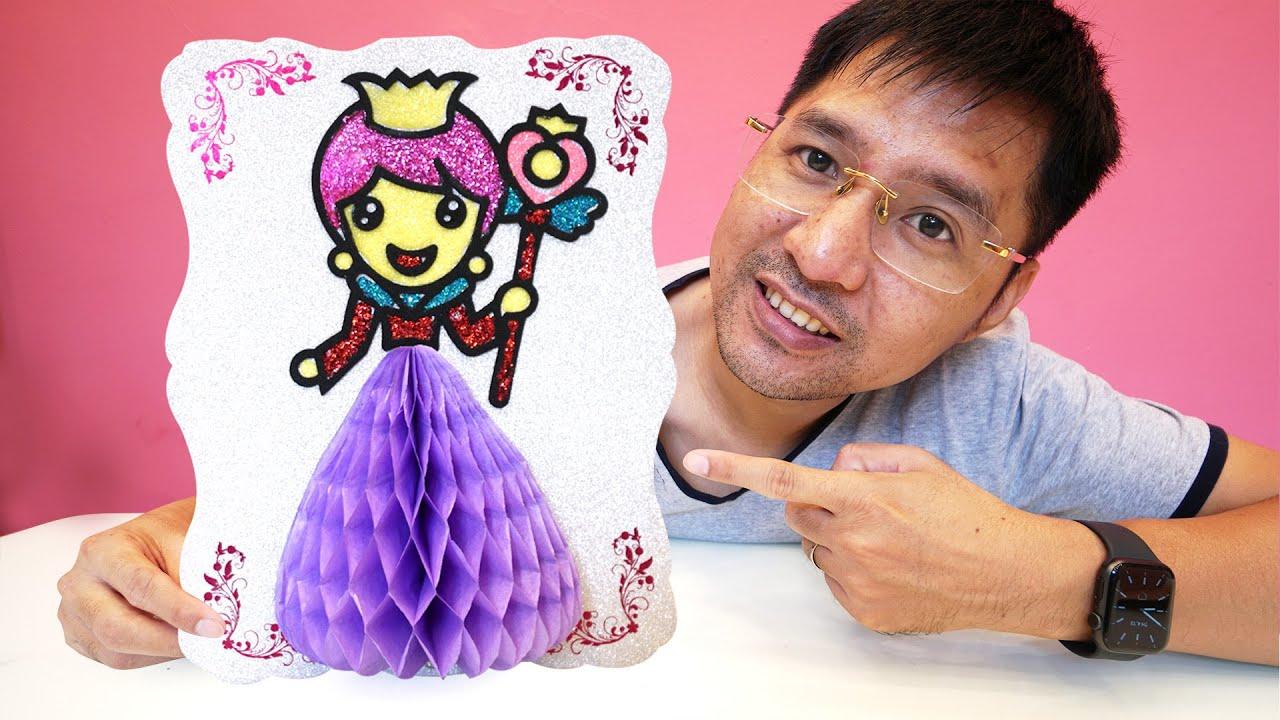 Hướng dẫn tô màu kim tuyến cho công chúa váy tím | Panduan warna glitter untuk sang putri gaun ungu