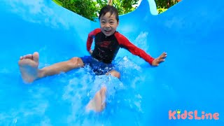 Park slide turned into pool slider 公園のすべり台がプールのスライダー??? こうくん迷子?? おゆうぎ こうくんねみちゃん