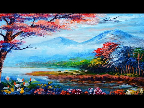 BASIC LANDSCAPE PAINTING TUTORIAL River with Colorful Flowers & Trees | ACRYLIC ART LESSON BEGINNERS