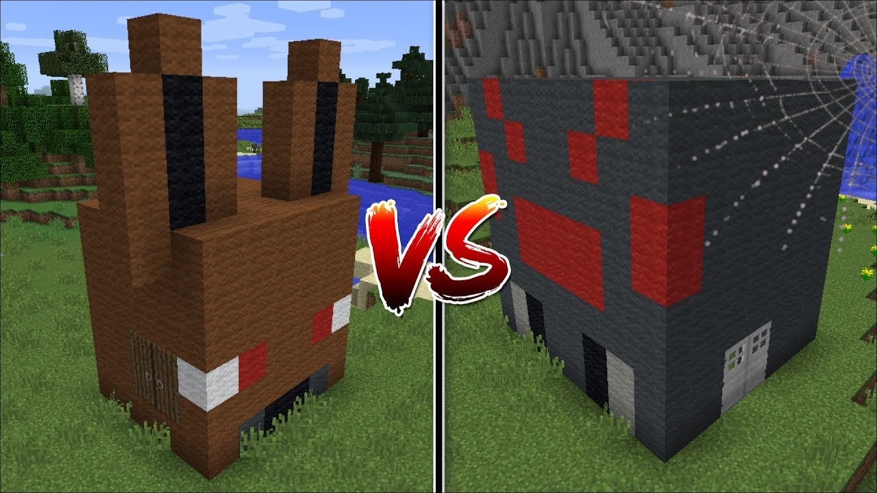 Minecraft Spider House Vs Bat House Mod Build Battle With Mob