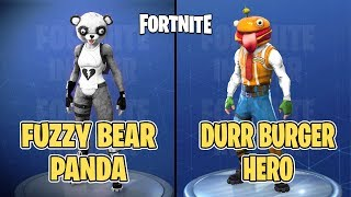 FORTNITE | 8 NEW SKINS-DURR BURGER, FUZZY PANDA, SUSHI CHEF AND MORE! | BATTLE ROYALE