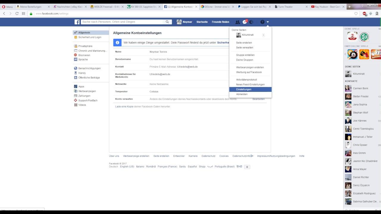 Wie ändere ich die E-Mail-Adresse auf Facebook?