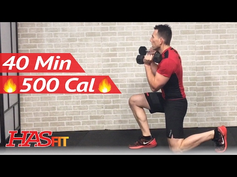 40 Min HIIT Workout with Weights + Abs - High Intensity Interval Training Workouts Exercises
